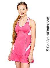 sportswear - Portrait of a girl tennis player in sportswear...