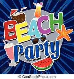 Beach party vintage  poster