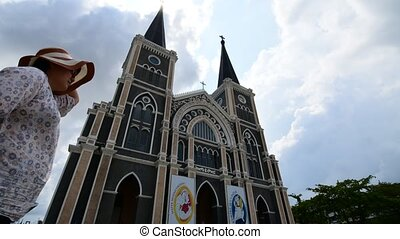 Asia woman standing at Roman Cathol - Chanthaburi, Thailand...