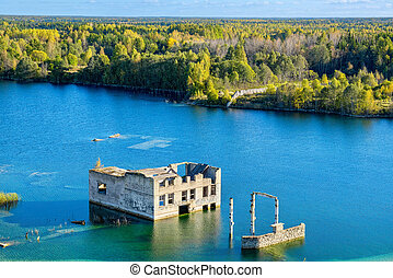 Abandoned prison Rummu, Estonia - Flooded houses of former...