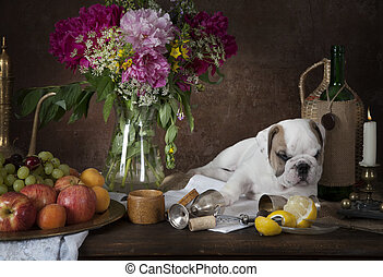 Still life with puppy dog in classical Dutch style - English...
