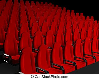 Movie Theater Seats. 3d rendered image