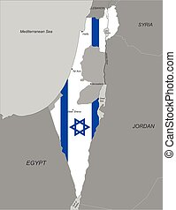Map of Israel with national flag