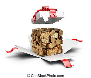 Open gift box with coins compiled in a form cube inside.