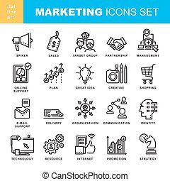 Modern Thin Contour Line Marketing Icons. Set for...