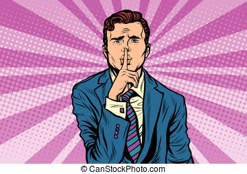retro man making silence gesture shhh Pop art vector,...