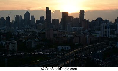 Cityscape and transportation in day - Bangkok, Thailand -...