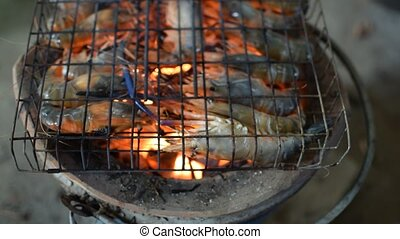 Grilled shrimp Giant freshwater prawn grilling with charcoal...