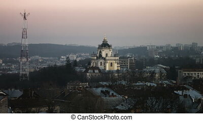 View of the city of Lviv from the High Castle Park, Ukraine