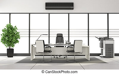 Black and white minimalist office - Black and white modern...