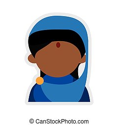 Cartoon woman icon Indian Culture design Vector graphic -...