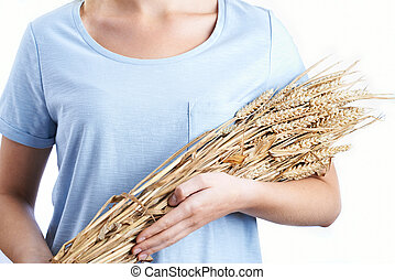 fim, cima, de, mulher, segurando, Pacote, de, trigo