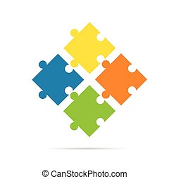 puzzle color illustration on white background