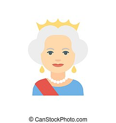 Queen flat icon - Cute flat icon of queen with crown, vector...