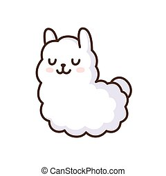 Cute llama illustration - Cute cartoon llama vector...