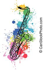 Jazz hand drawn saxophone. colored with paint splats in white background