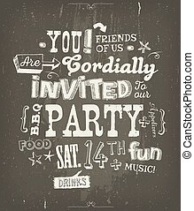 Party Invitation Poster On Chalkboard Background