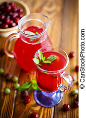 cold compote of red ripe cherries with a sprig of mint