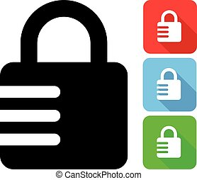 Closed Combination Lock - Vector Illustration Of A Closed...