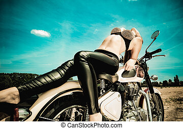 biker girl on a motorcycle - Fashion model biker girl on a...