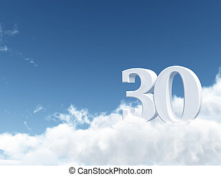 thirty - the number thirty - 30 - on clouds - 3d...