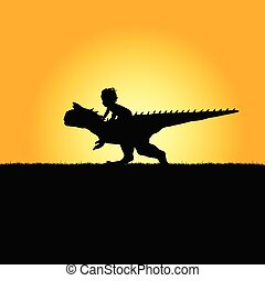 child with dinosaur adorable in nature silhouette...