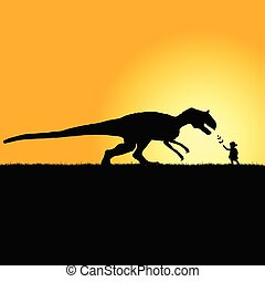 child playing with dinosaur in nature silhouette...