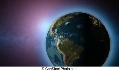 Rotating Earth moving around sun - Rotating Earth and sun...
