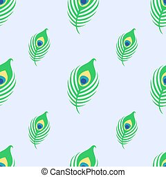Seamless pattern with peacock feather on blue background.