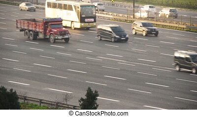 Traffic on busy motorway - Istanbul, Turkey, Traffic on busy...