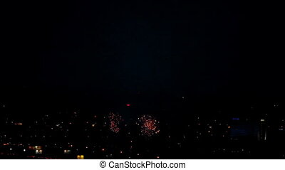 Fireworks flashing in the night sky.