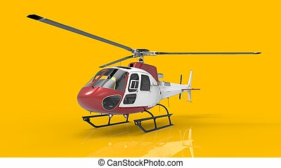 Red-white civilian helicopter on a yellow uniform...
