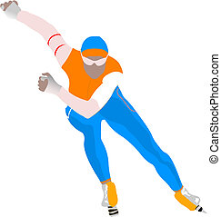 Speed skating. Vector illustration
