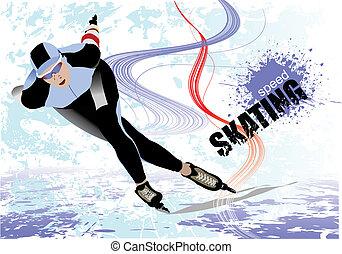 velocidad, patinaje, vector, Ilustración