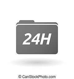Isolated folder icon with the text 24H - Illustration of an...