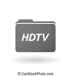 Isolated folder icon with the text HDTV - Illustration of an...