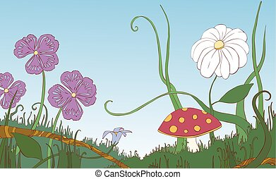 Flowers, grass and mushroom on the meadow