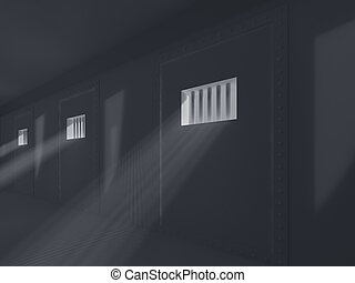 High resolution image prison 3d illustration Old prison...
