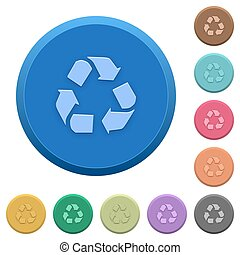 Embossed recycling buttons - Set of round color embossed...