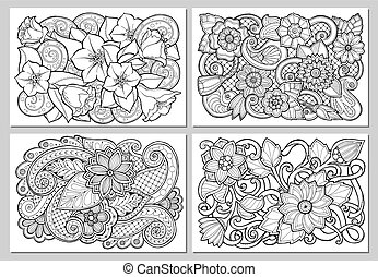 Set of floral card. Hand drawn artwork with abstract...