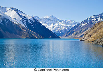Embalse el Yeso reservoir in San Jose del Maipo, Chile