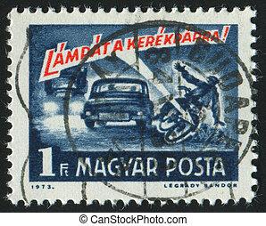 postmark - HUNGARY - CIRCA 1973: stamp printed by Hungry,...