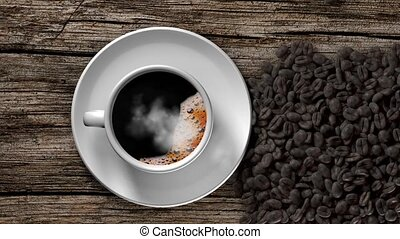 Cup of coffee and coffee beans - Cup of coffee with smoke...