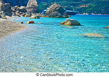 turquoise water Ithaca Greece - turquoise transparent water...
