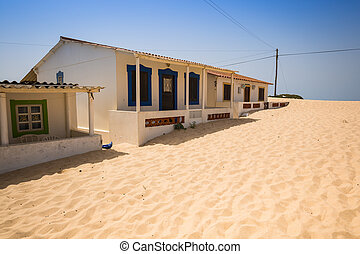 Algarve: Traditional houses in the fishing village of Faro Portugal