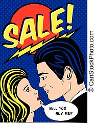 Sale banner with man and woman in american comic pop art...