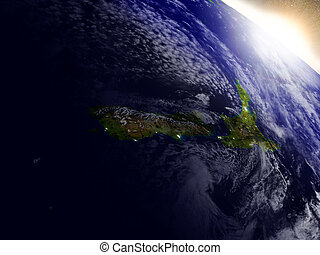 New Zealand from space during sunrise - New Zealand region...