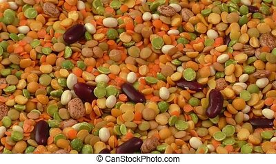 Various colorful dried legumes