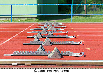 Athletics starting blocks - Athletic track Athletics...