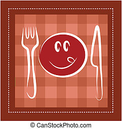 happy smiley face with fork and knife, template design